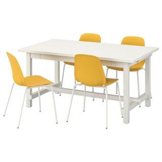 NORDVIKENLEIFARNE τραπέζι και 4 καρέκλες, Κίτρινο | IKEA Ελλάδα