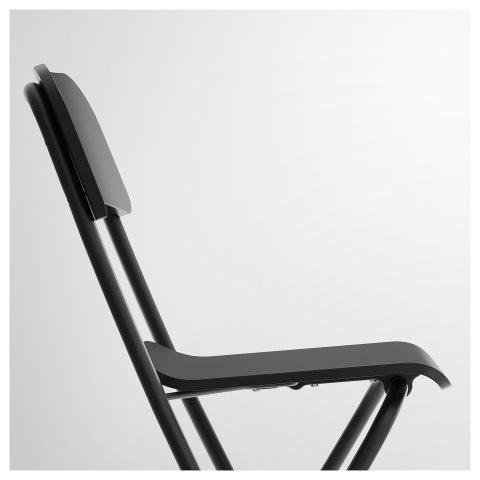 Franklin Bar Stool With Backrest Foldable Black Ikea