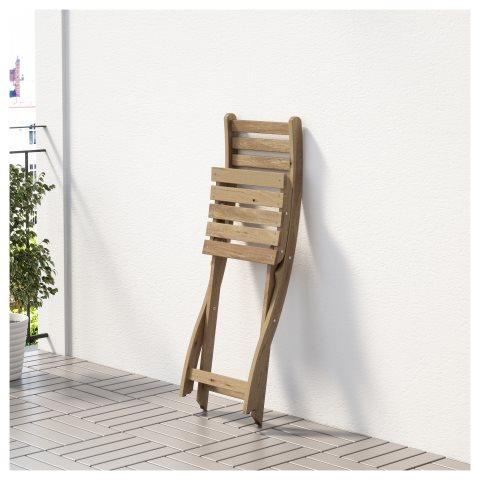 ASKHOLMEN επίτοιχο τραπέζι1 πτυσσ. καρέκλα, εξωτ. χώρου