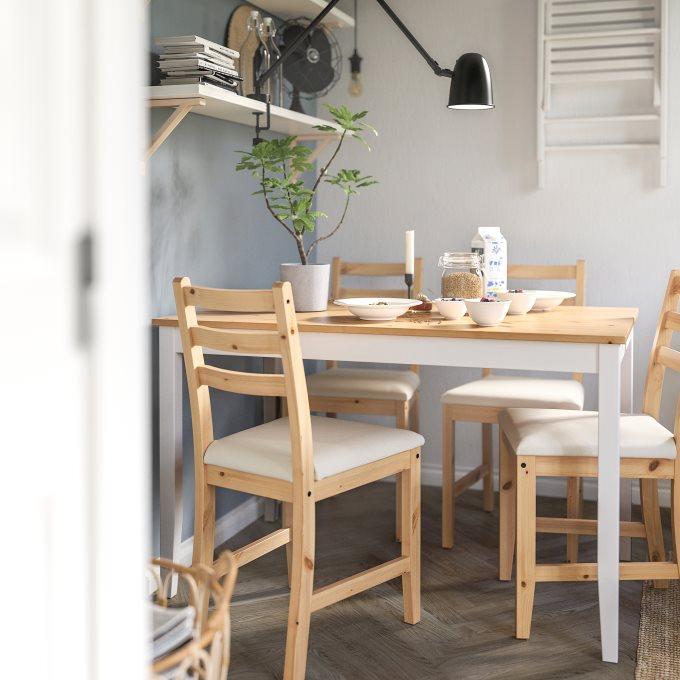 LERHAMN τραπέζι και 4 καρέκλες, Μπεζ | IKEA Ελλάδα