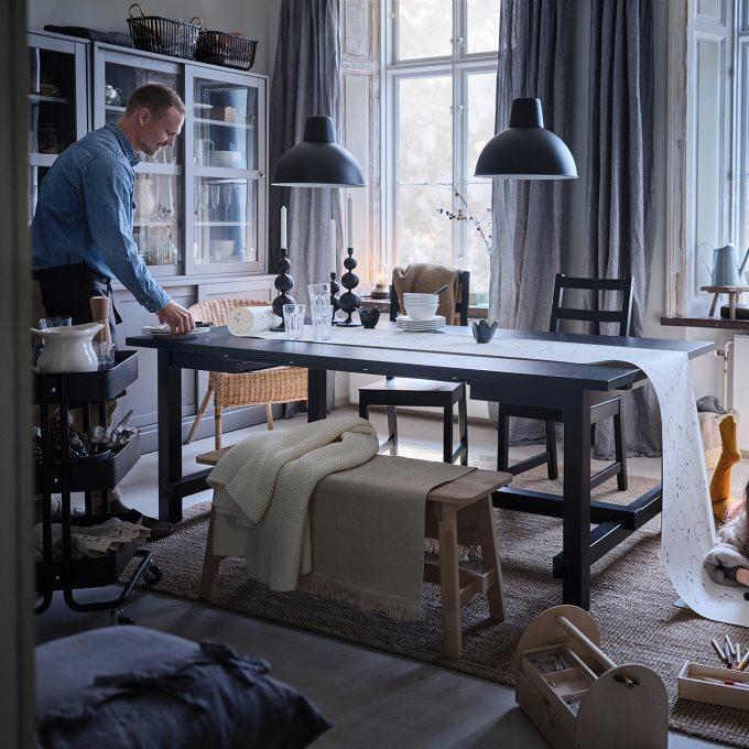NORDVIKEN επεκτεινόμενο τραπέζι, Μαύρο   IKEA Ελλάδα
