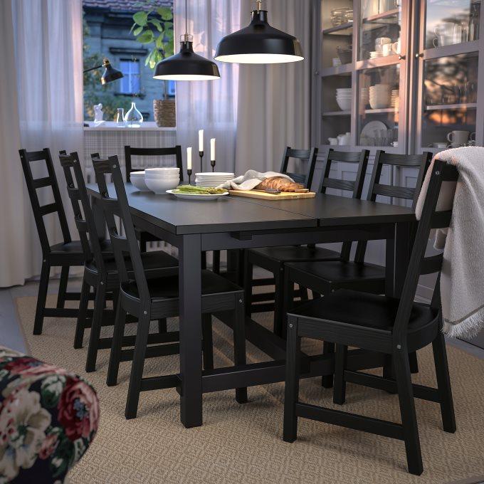 NORDVIKENNORDVIKEN τραπέζι και 6 καρέκλες, Μαύρο | IKEA Ελλάδα