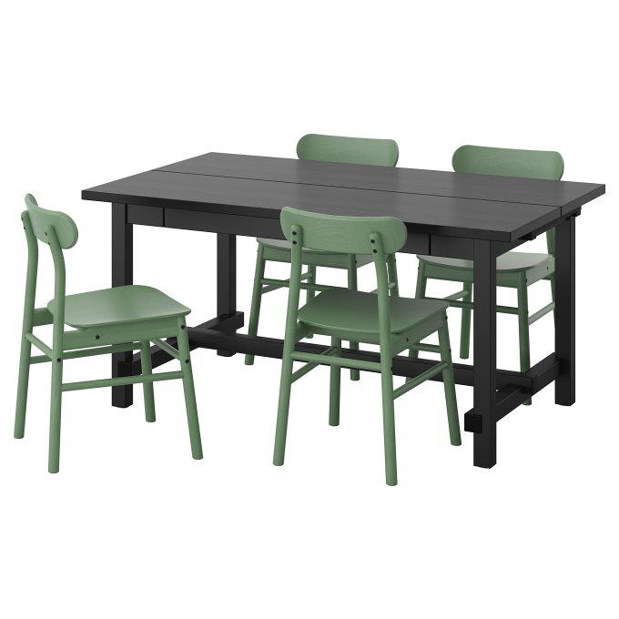 NORDVIKENRONNINGE τραπέζι και 4 καρέκλες, Μαύρο   IKEA Ελλάδα