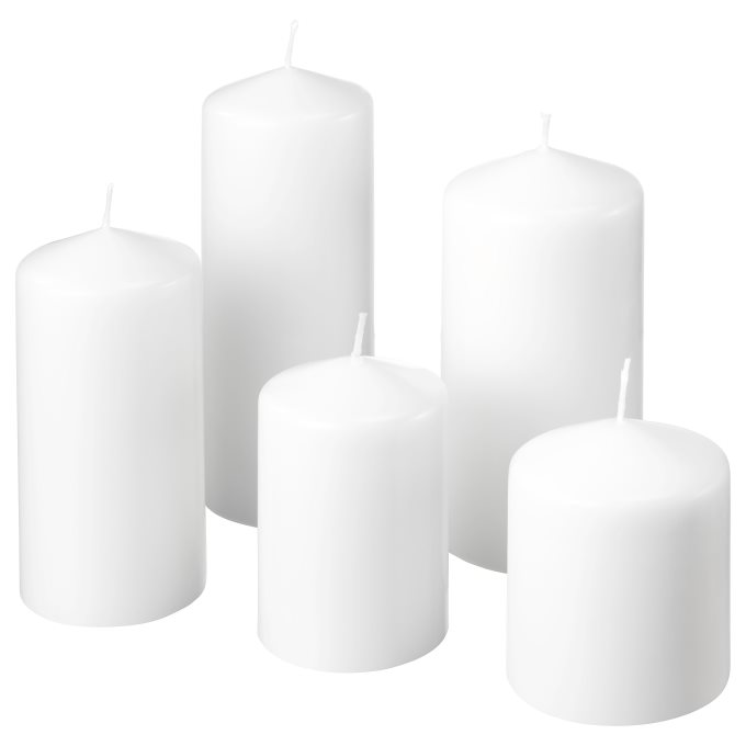 unscented block candle, set of 5