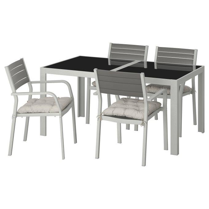 SJALLAND τραπέζι και 4 καρέκλες με ρυθμιζόμενη πλάτη