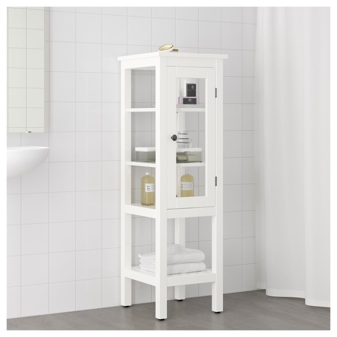 Cabinet Renewal Products: HEMNES High Cabinet With Glass Door, Bathroom High